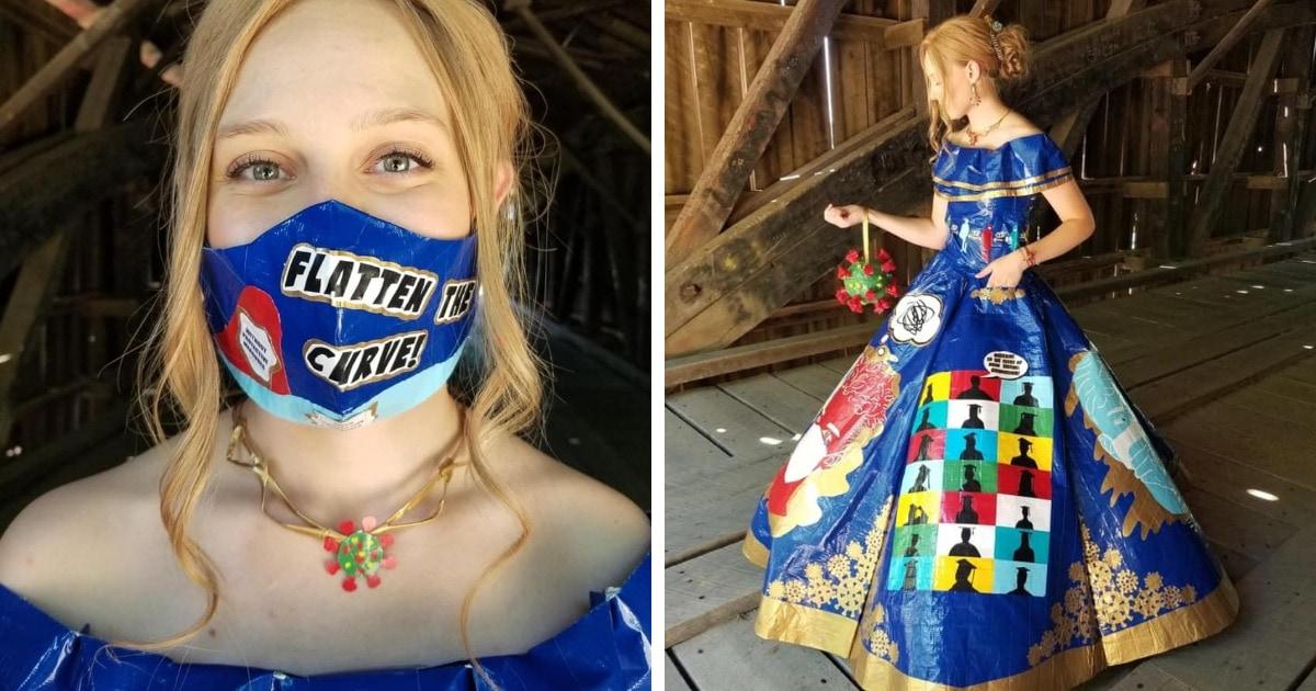 Девушка потратила около 400 часов, создавая выпускной наряд из скотча. Она посвятила его борьбе с ковидом