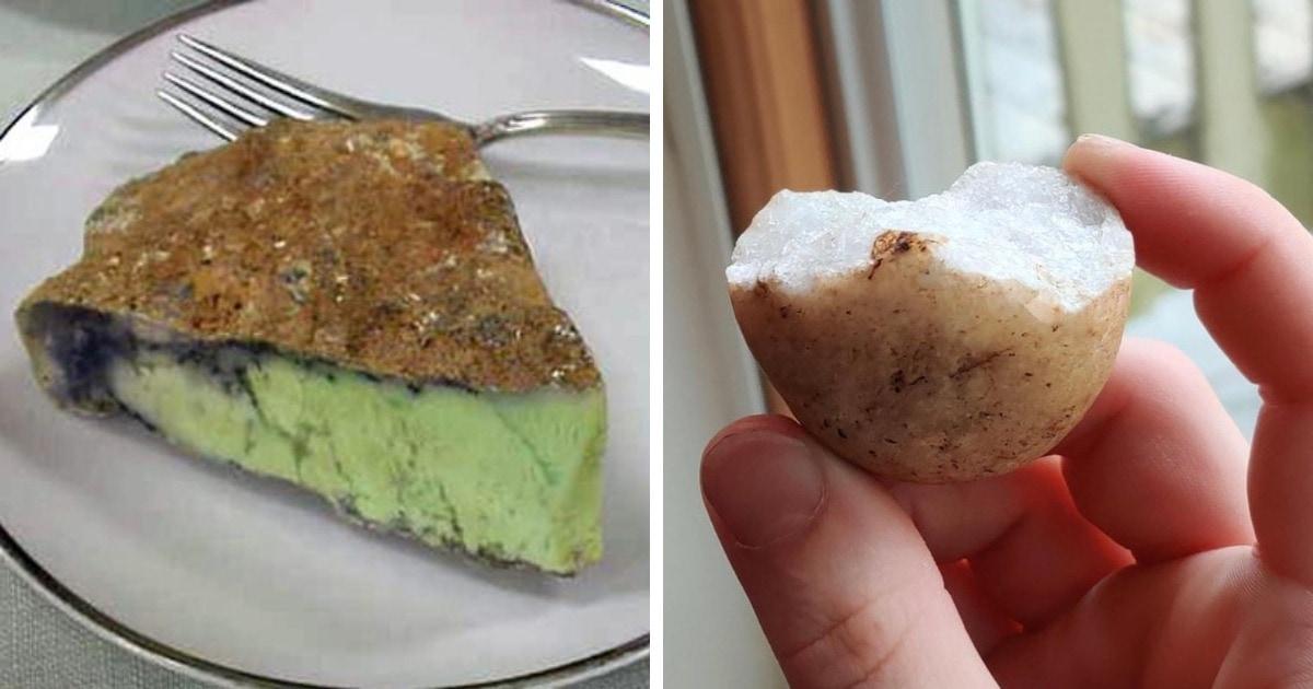 Пользователи сети показывают камни, которые безумно похожи на еду. Но делать кусь опасно для зубов!