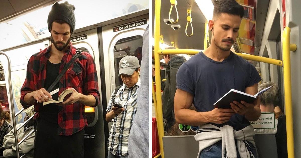 Девушка тайно фотографирует читающих красавчиков, и круче самих снимков только её игривые комментарии