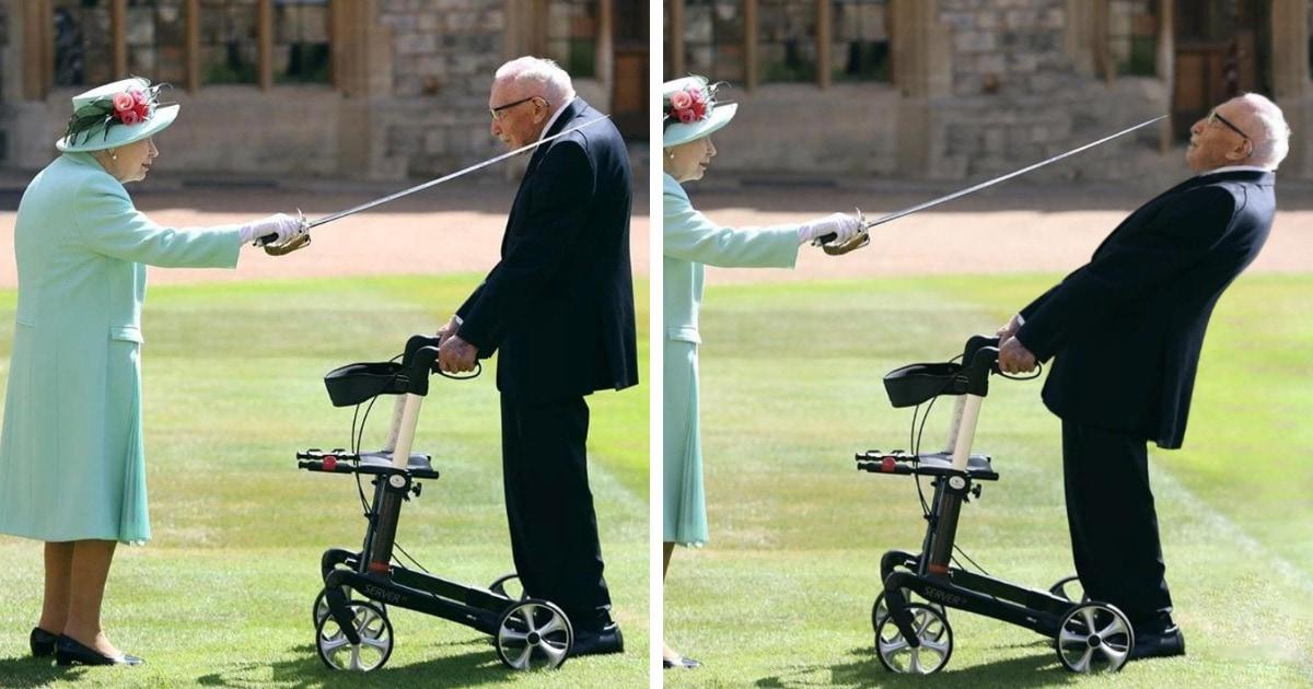 Королева Елизавета II посвятила в рыцари 100-летнего ветерана: самые смешные пародии на фото с церемонии