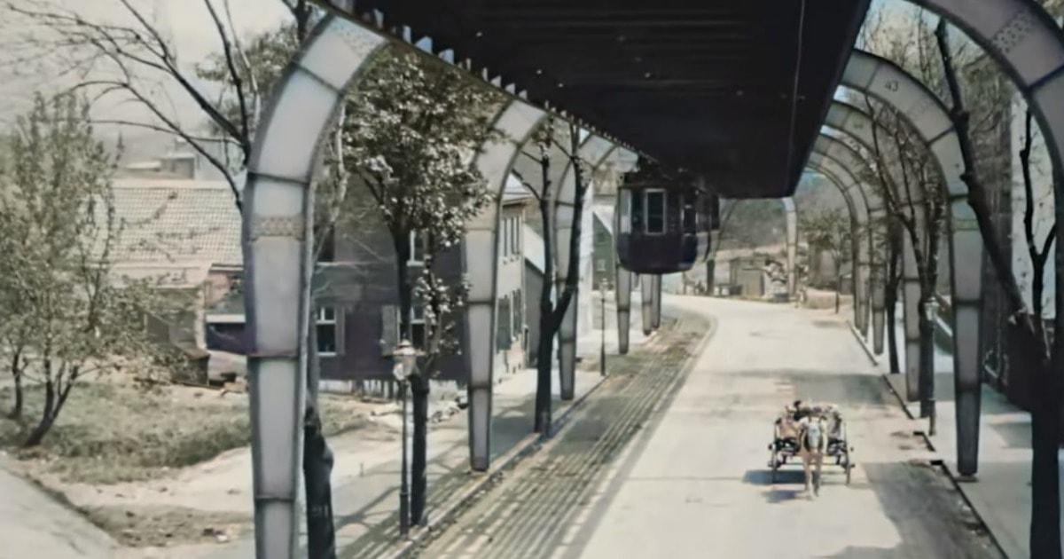 Москвич раскрасил и переделал в 4К видео из Германии 1902 года, снятое с подвесной дороги. Кадры завораживают!