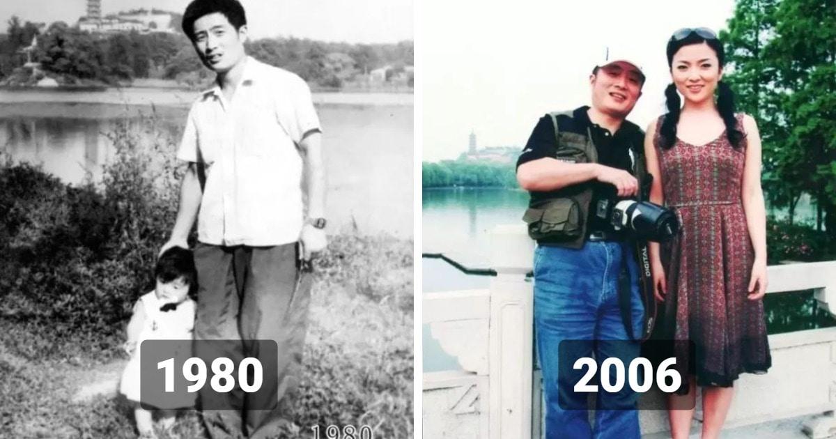 Отец и дочь 40 лет повторяли своё фото, и на их снимках видно, как она росла и как менялся город всё это время