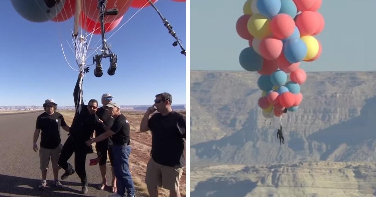 Иллюзионист Дэвид Блейн совершил первый трюк за 10 лет. Он взлетел на 7500 метров с помощью воздушных шариков