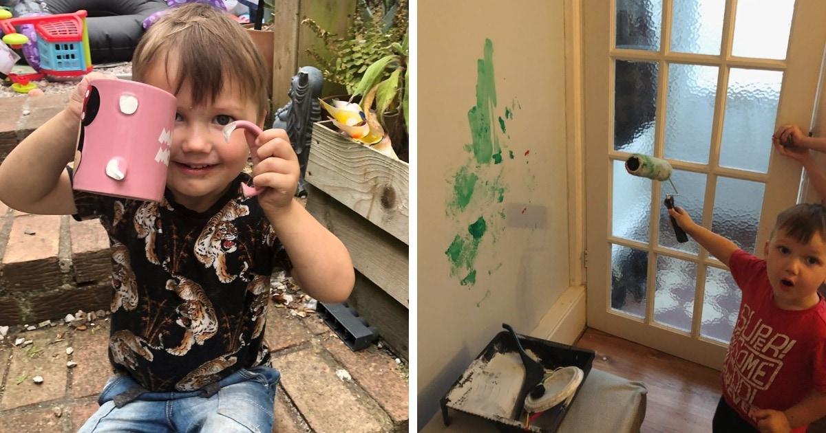 Мама 3-летнего любителя погромов фотографирует его проделки. Настанет день, и этому парню придётся краснеть