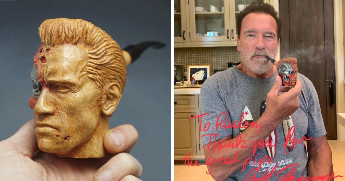 Резчик по дереву подарил трубку Арнольду Шварценеггеру. Тот отблагодарил мастера, и это лучше денег за заказ