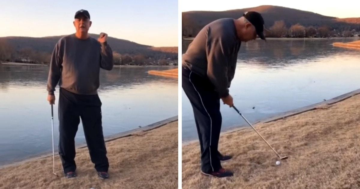Дедуля показал звук, который издаёт мячик для гольфа на льду. Он похож на пение птиц, инопланетян и подлодку