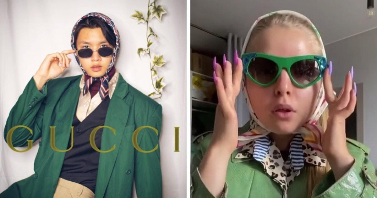 Платок, очки и много одежды: в ТикТоке пародируют стиль Gucci, и эти шутливые луки оценил даже сам Дом моды
