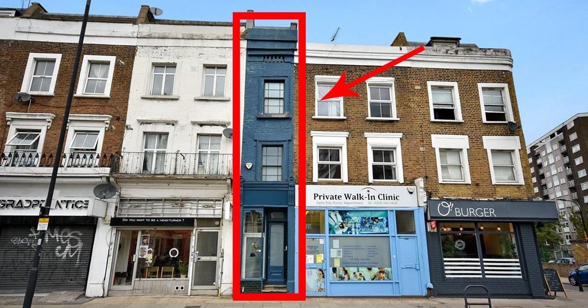В Лондоне выставлен на продажу самый узкий дом. Но своей площадью он доказывает, что глазам верить нельзя