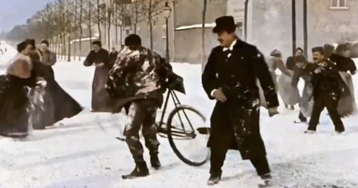 Испанец раскрасил фильм братьев Люмьер «Игра в снежки» 1896 года и подарил ему новую жизнь 124 года спустя