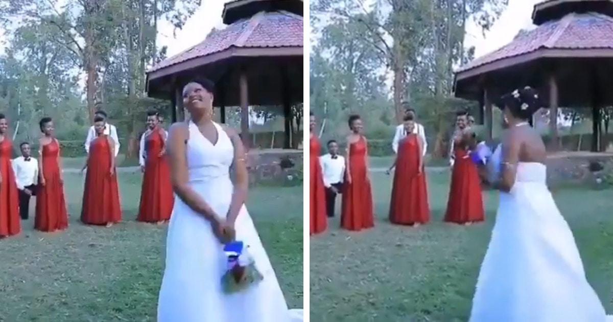Невеста нарушила традицию и не стала бросать букет. Но одна из её подруг всё же выйдет замуж следующей