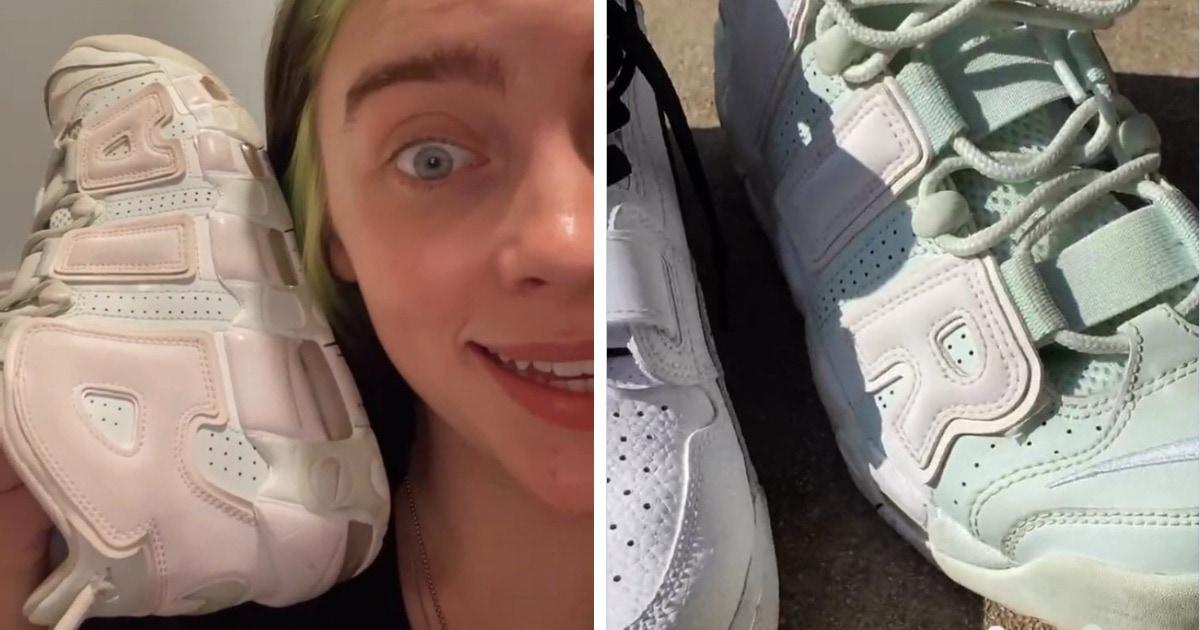 Билли Айлиш показала кроссовки и сломала людей. Она говорит, что обувь мятного цвета, но все видят розовый