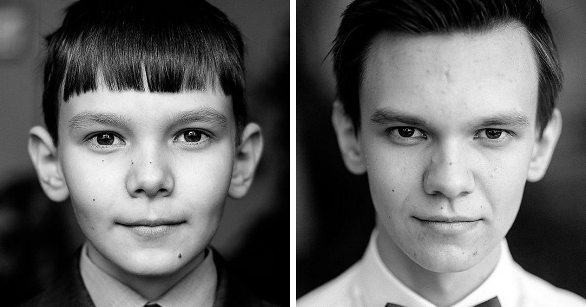 Фотограф из России показал, как быстро взрослеют и меняются дети, сделав по два снимка школьников с разницей в 6,5 лет