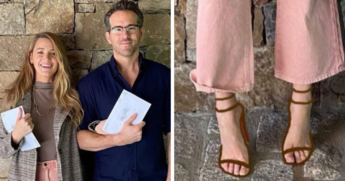 Блейк Лайви и Райан Рейнольдс сделали фото, но все смотрят на ноги Блейк. Ведь с её обувью явно что-то не так