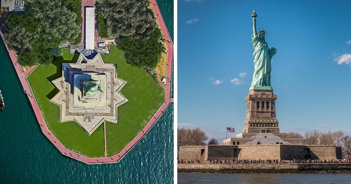 Статуя Свободы, Колизей и Эйфелева башня: портал показал, как известные здания мира выглядят сверху