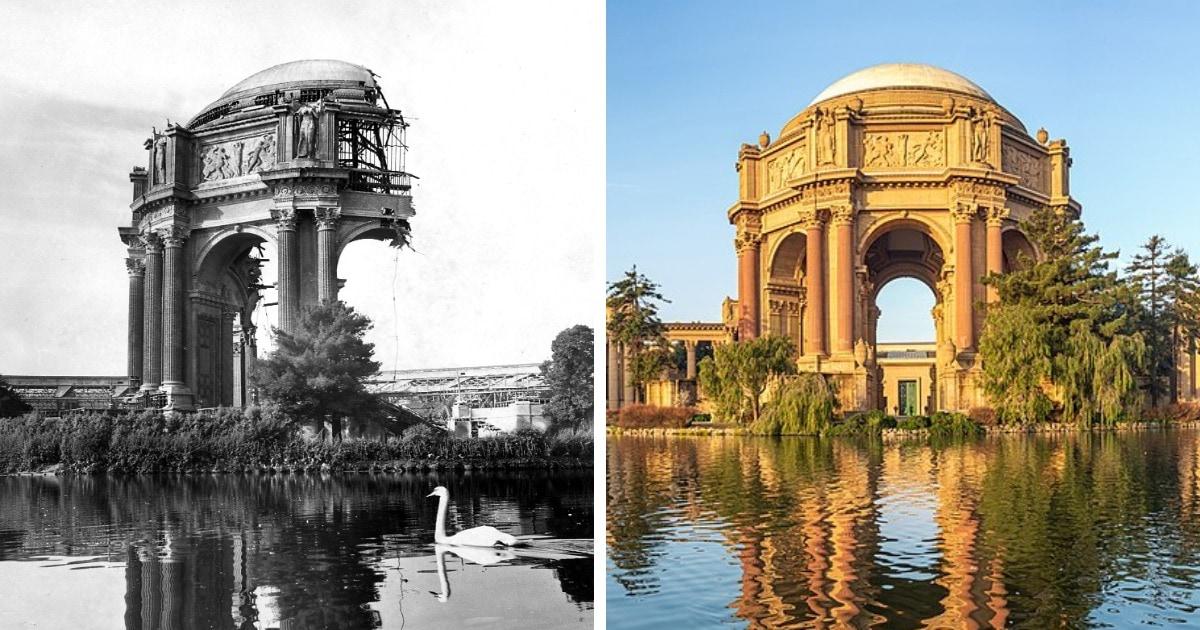 12 известных сооружений до и после их полной или частичной реконструкции