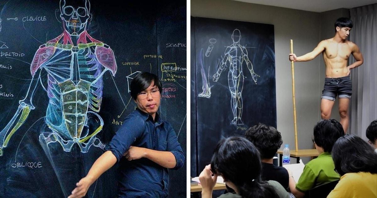 Художник из Таиланда преподаёт ученикам анатомию, и фотографии с его уроков — отдельное искусство