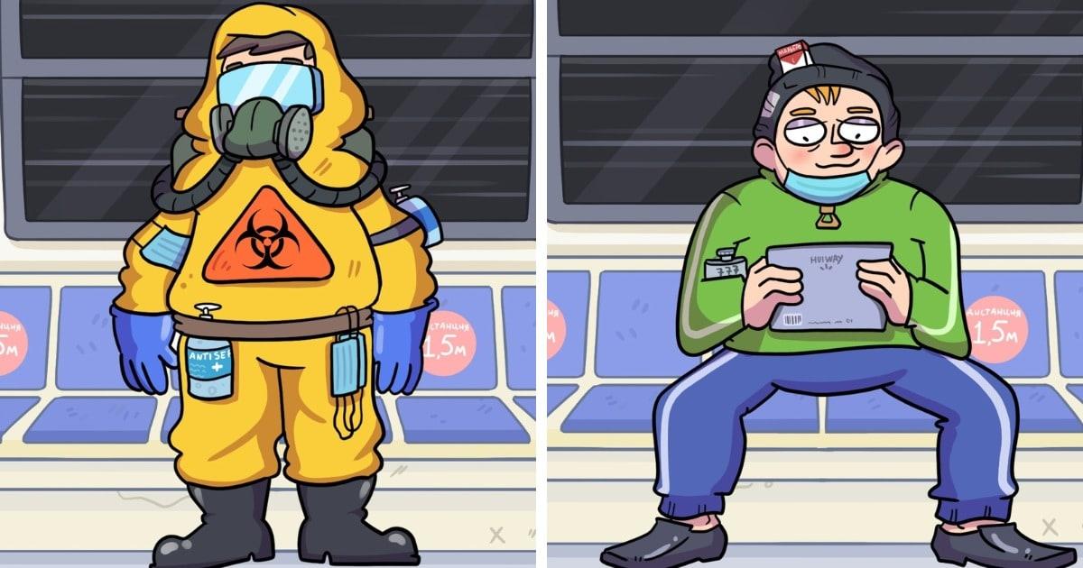 Художник изобразил забавную классификацию пассажиров в метро, появившихся из-за пандемии. А кто из них вы?