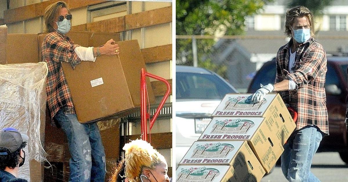 Известный актёр разгружал машину с едой для бедных, и никто не узнавал его в маске. Но потом её пришлось снять