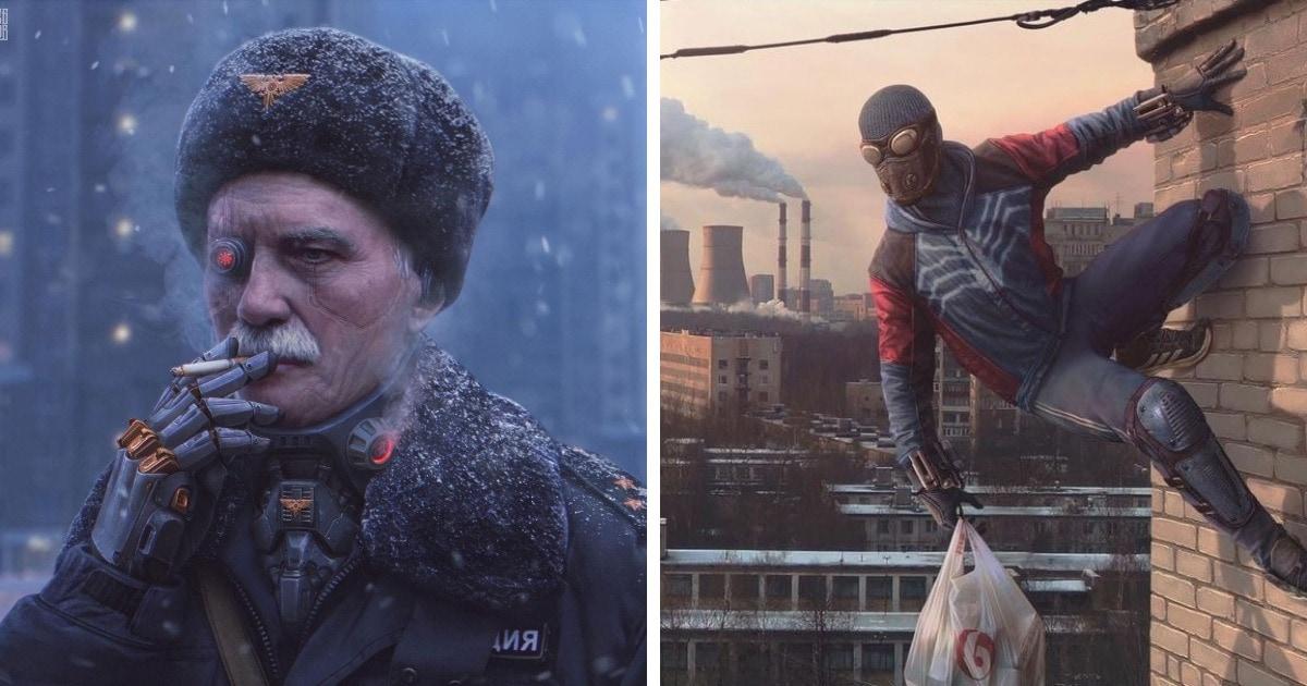 Художник из Санкт-Петербурга рисует Россию из будущего и прошлого в мрачной кибепанковской обложке