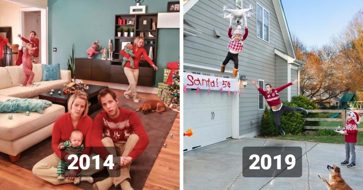 Семья Стенли снимает неидеальные рождественские фото уже 7 лет подряд. И с каждым годом их снимки всё безумнее
