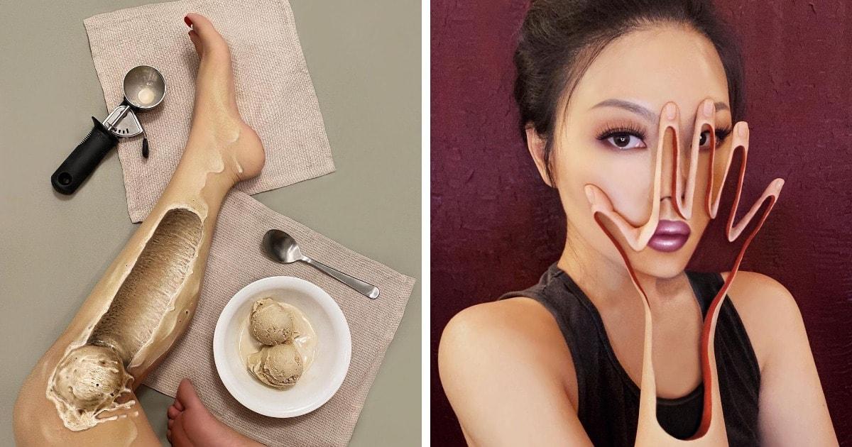 16 работ от визажистки, которая создаёт макияжи-иллюзии на своём теле. Выглядит это до жути реалистично