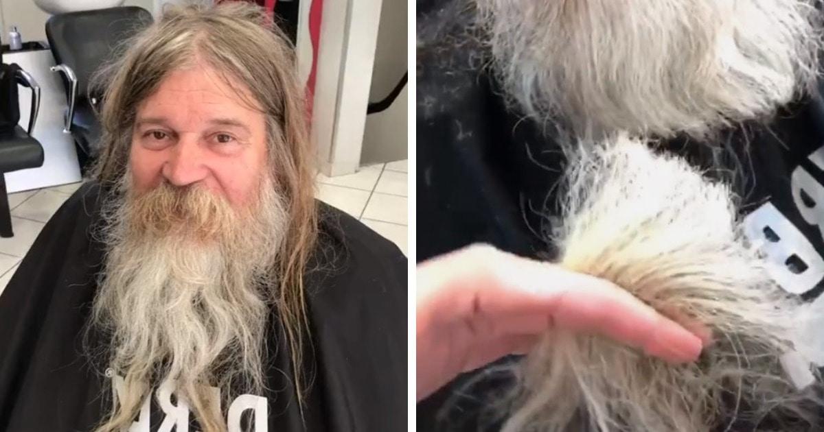 Бездомный попал к барберу, и тот его преобразил. Оказалось, что под волосами и бородой прячется красавчик