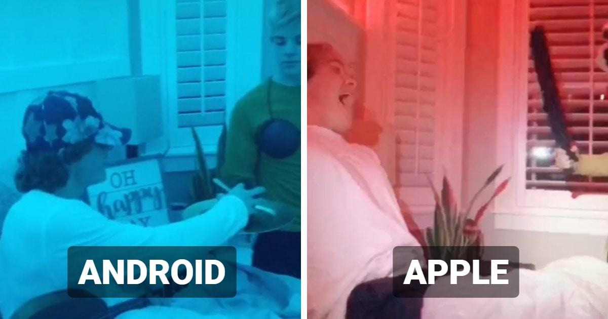 Тиктокер шутливо сравнил пробуждения от будильников Android и Apple. И это новое противостояние девайсов