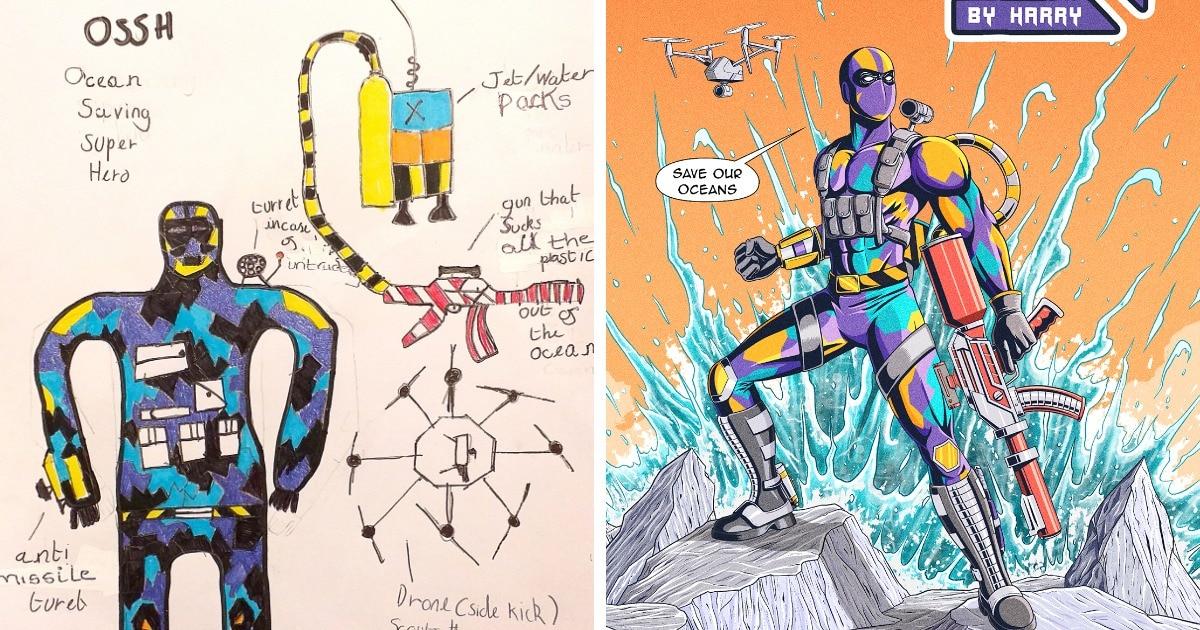 Дети придумали новых супергероев, а иллюстратор их дорисовал. И эти герои правда помогли бы современному миру