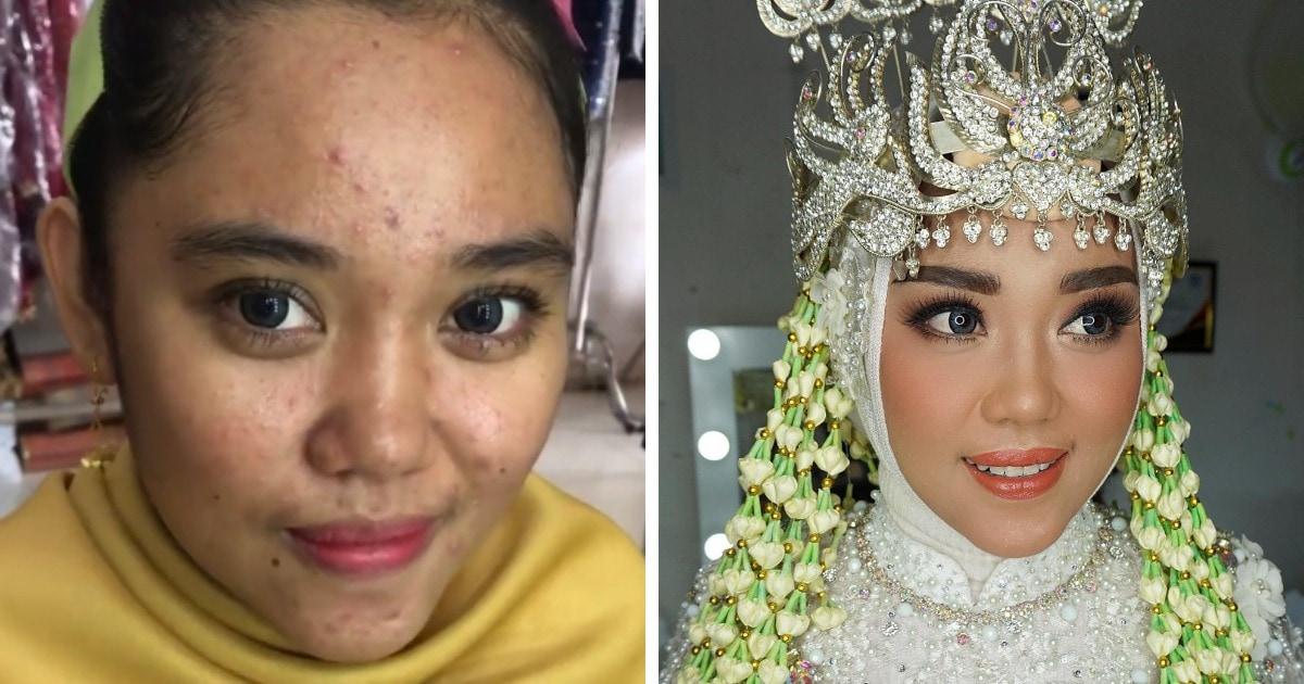 16 фотографий невест из Азии до и после того, как макияж превратил их в настоящих королев