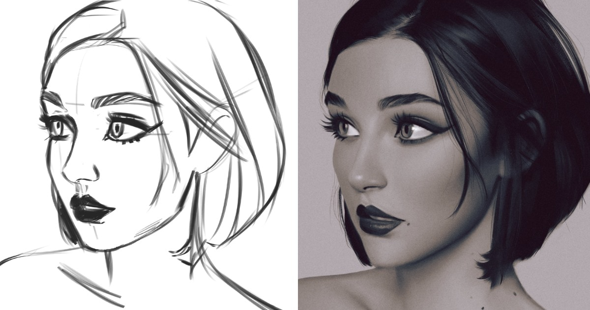 Скетч VS результат: художники устроили флешмоб и сравнили, как выглядит эскиз и финальный вариант рисунка
