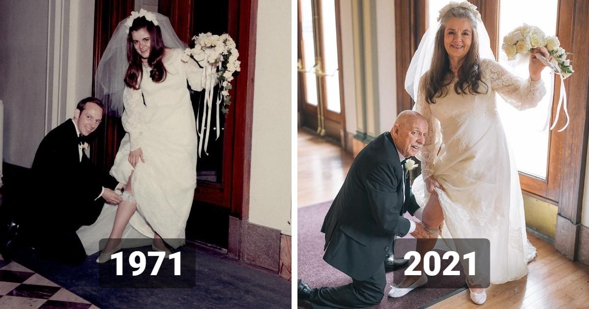 Пара отметила 50 лет брака, повторив свои свадебные снимки. И пользователи сети были тронуты до глубины души