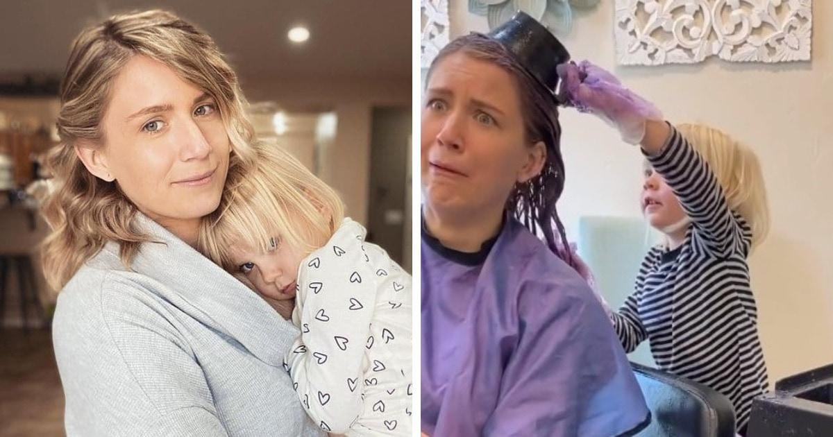 Мама разрешила 3-летней дочке покрасить ей волосы и не прогадала. Малышка доказала — парикмахерами рождаются