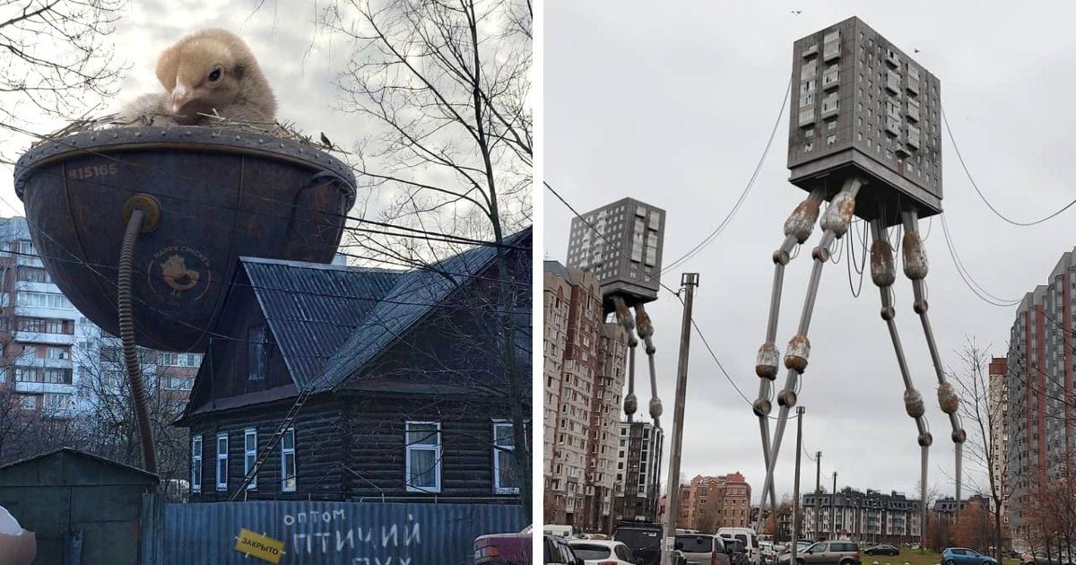 18 работ дизайнера, который дополняет привычные городские пейзажи сюрреалистичными и жутковатыми деталями