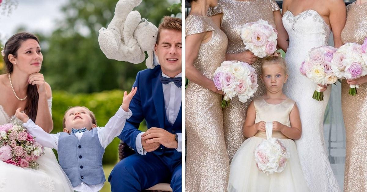 15 смешных детей, которые из вполне обычного свадебного кадра сделали шедевр