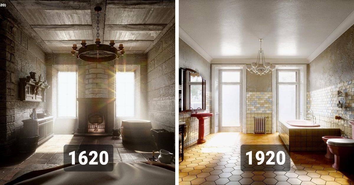 От горшков к современности: дизайнеры показали, как менялись интерьеры ванных комнат в течение 500 лет