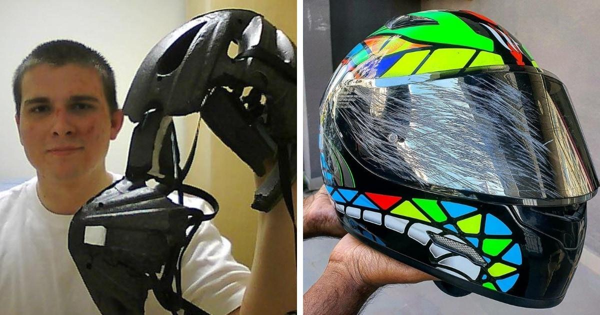 15 фотографий, которые наглядно покажут, почему мотоциклистам и велосипедистам важно носить шлемы