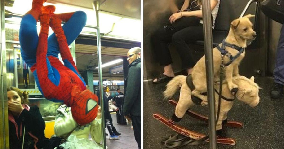 16 забавных и абсурдных фото, которые показывают, что самые яркие и необычные попутчики попадаются в метро