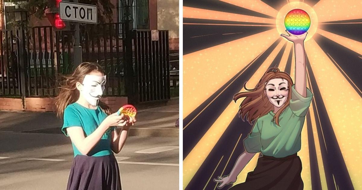 В соцсетях нашли фото девочки в маске и с поп-ит в руках. Люди влюбились и рисуют её портреты