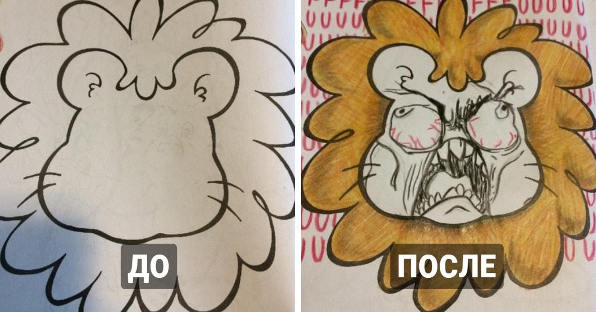 16 случаев, когда взрослые добрались до детских раскрасок и поиздевались над ними, проявив свой чёрный юморок