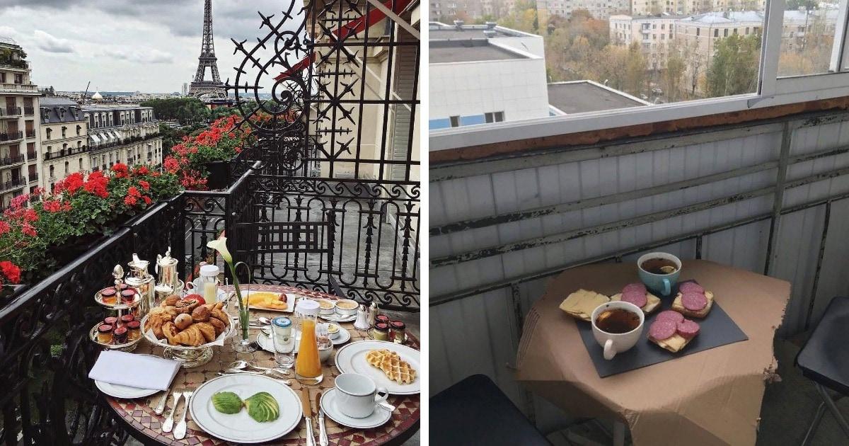 Девушка сравнила фото двух балконов, написав, что ей от этого грустно. В комментариях это превратили в мем