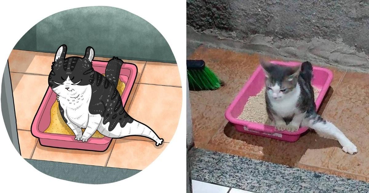 Художник из Индонезии превращает котов из мемов в смешные рисунки, повышая градус веселья и безумия