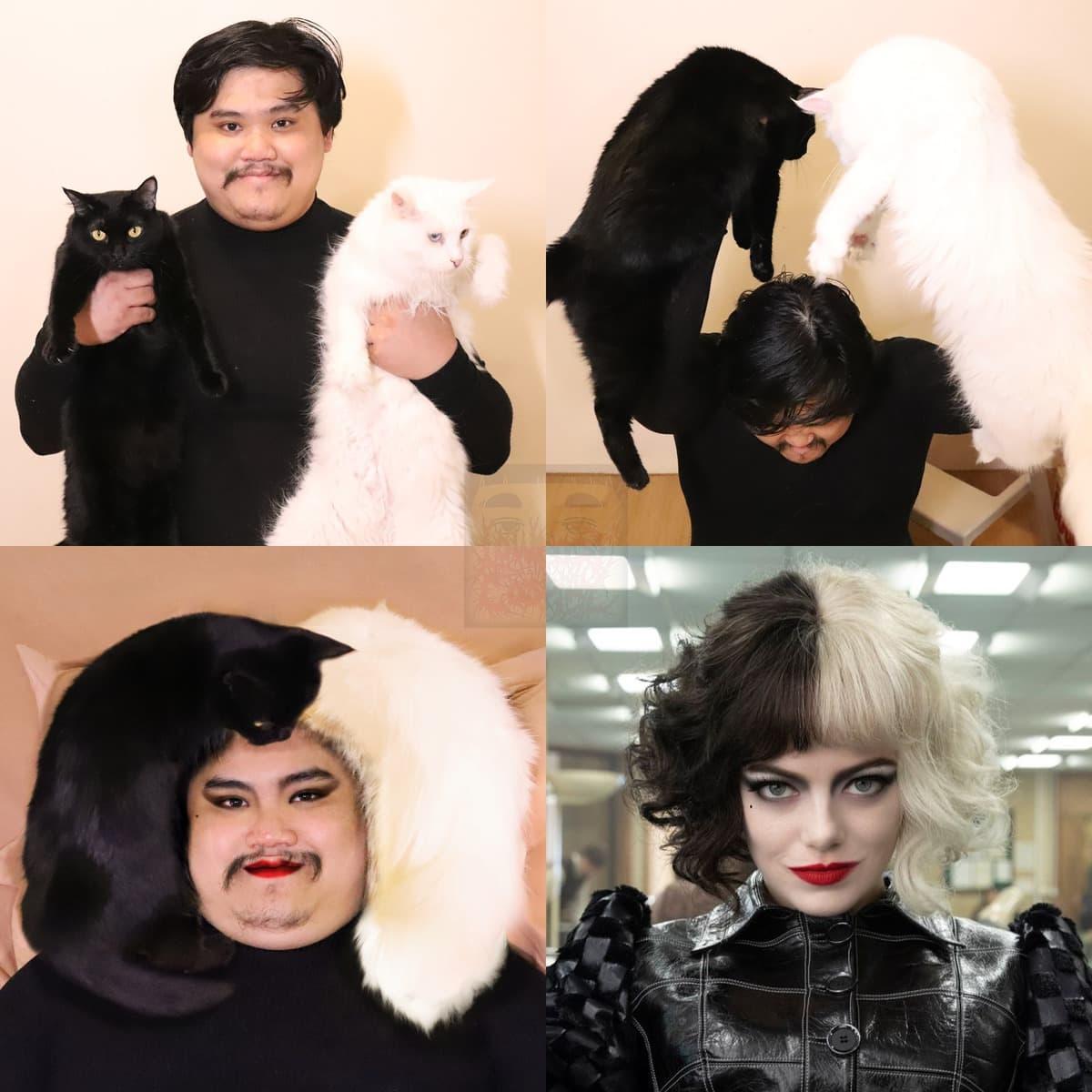 15 необычных образов от парня из Таиланда, который косплеит всё на свете с помощью подручных средств и котов